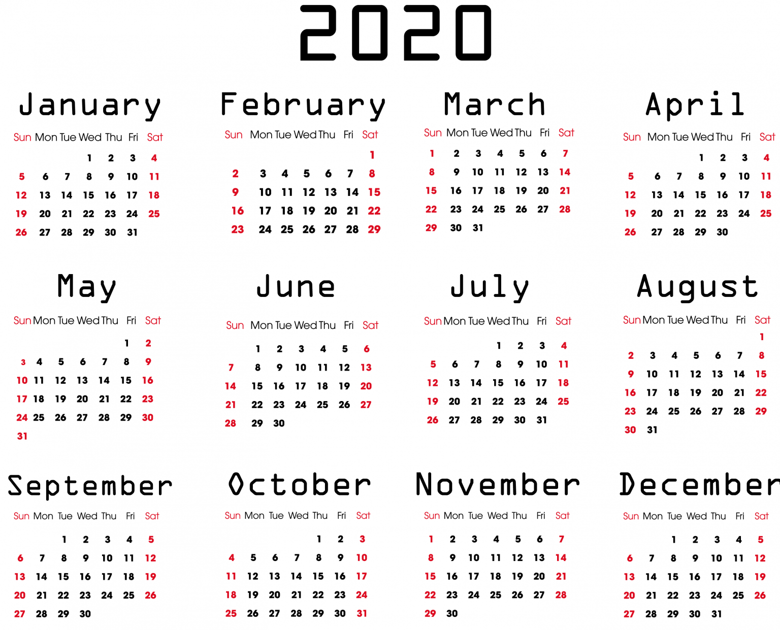 Yearly 2020 Calendar - Free 12 Month 2020 Calendar Printable Free Weekly Calendar Fillable With Times Starting At 6Am
