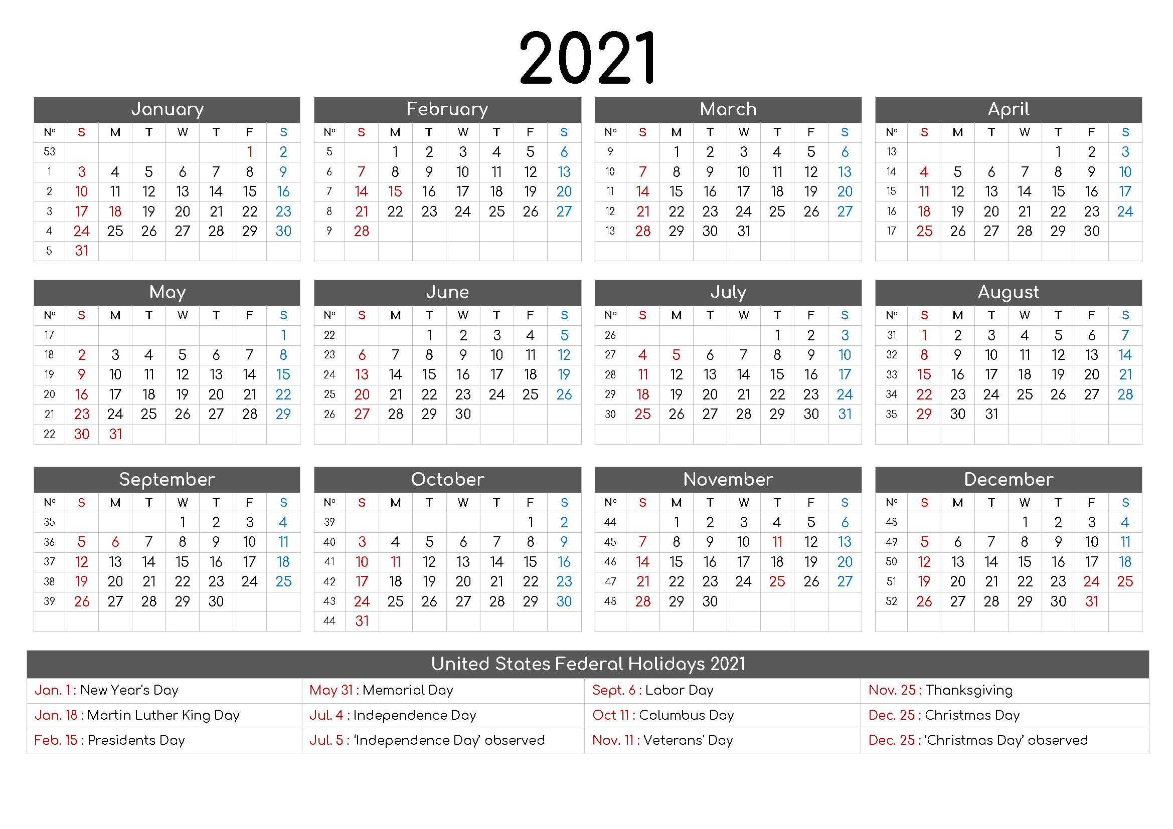 Yearly 2021 Printable Calendar Template - Pdf, Word, Excel Printable And Editable 12 Month Calendars